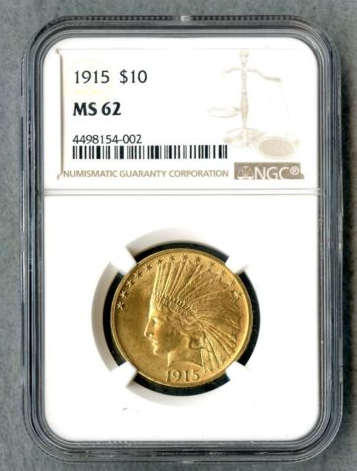 1915- $10 Indian Gold MS 62 NGC certified X5713